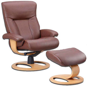 Fjords Scandic Ergonomic Leather Recliner Chair and Ottoman Scandinavian