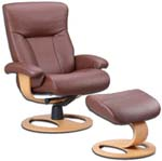 Fjords Scandic Leather Recliner Chair with the DR Frame Wood Base