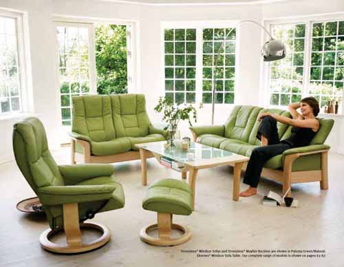 Stressless Chelsea Recliner Chair - Streeless Windsor Sofa, Table and Mayfair Recliner in Paloma