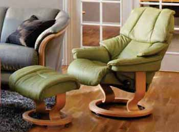 Stressless Vegas Recliner Chair Reno in Paloma Green / Natural Wood Finish by Ekornes